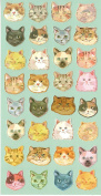 Colourful Cat Kitty Kitten . Head Craft Scrapbooking Sticker Set for Diary, Album