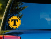 T1220 Tennessee T Decal - 10cm x 10cm - Easy To Apply - Instructions Included - Premium 6 Year Vinyl