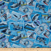 1/2 Yard -Make A Splash Postal Stamps on Blue 100% Cotton (iGreat for Quilting, Sewing, Craft Projects, Throw Pillows & More) 1/2 Yard x 110cm