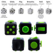 Fidget Toy Dice 6 Sides - Black/Green