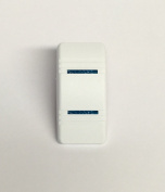 Euro Rocker Marine Switch Cover White with 2 Blue Lenses