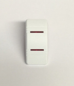 Euro Rocker Marine Switch Cover White with 2 Red Lenses