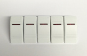 Euro Rocker Marine Switch Cover White with 1 Red Lens 5 Pack