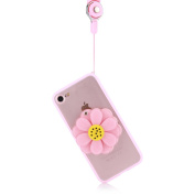 Moonmini 3D Daisy Mirror Case Soft TPU Phone Back Case Cover Protective Skin with Lanyard for iPhone 6 Plus / iPhone 6s Plus - Pink