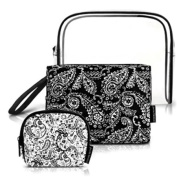 Cosmetic Purse Case ~ Black Paisley Print Cosmetic Pouch Purse Bags Set of 3