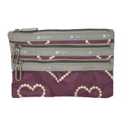 LeSportsac Essential Classic 3 Zip Pouch, Rosewood Hearts