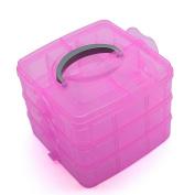 So Beauty 18 Cubes Three-layered Makeup Storage Organiser Box Jewellery Holder Pills Classifier Rose Red