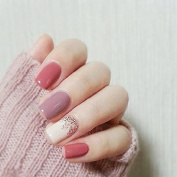 24Pcs Candy Pink Taro Purple Fantasy Short False Nails With Stickers Acrylic Nail Art Tools