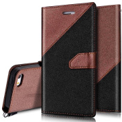 iPhone SE Case,iPhone 5S Case,PHEZEN iPhone 5s/5/SE Wallet Case, Elegant Two-Colour Design PU Leather Magnetic Wallet Flip Case Cover with Stand & Credit Card Slots for iPhone 5 5S SE, Black + Brown