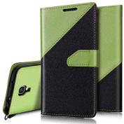 S4 Case,Galaxy S4 Wallet Case,Galaxy S4 Flip Case,PHEZEN Elegant Two-colour Design Book Style PU Leather Magnetic Flip Cover Protective Case with Card Slots for Samsung Galaxy S4, Black + Green