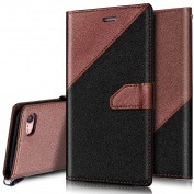 iPhone 7 Wallet Case,iPhone 7 Flip Case,PHEZEN Elegant Two-colour Design Book Style PU Leather Magnetic Flip Cover Protective Case with Card Slots for iPhone 7 (2016) 12cm ,Black + Brown