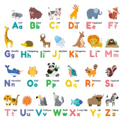 Decowall,DW-1614,Colourful Animal Alphabetpeel & stick Nursery wall decals stickers