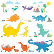 Decowall,DW-1703,Colourful Dinosaur,peel & stick Nursery wall decals stickers