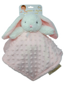 Blankets & Beyond Minky Bunny Security Blanket - White and Pink Raised Dot