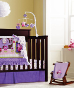Baby Girls Purple Owl 9pcs Crib Bedding Set with nappy stacker