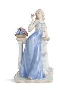 Victorian Lady Figurine Summertime Blossom Porcelain Statue Vintage Women Figures