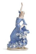 Flamenco Dancing Lady Figurine Porcelain Statue Vintage Dancer Girl Figure 38cm