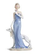Victorian Lady Walking Hound Figurine Porcelain Statue Vintage Woman Figure 36cm