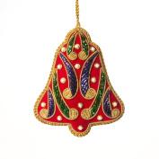 Handcrafted Zardozi Embroidered Ornament - Red Velvet Christmas Bell