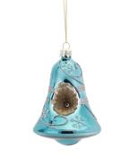 Shiny Antique Blue Snowflake Bell Christmas Ornament 10cm