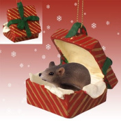 MOUSE Grey in RED GIFT BOX Christmas Ornament New RGBA70