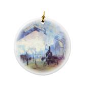 Rikki Knight Claude Monet Art Saint Lazare Station in Paris Design Round Porcelain Two-Sided Christmas Ornaments