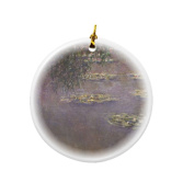 Rikki Knight Claude Monet Art Water Lilies Water Landscape #1 Design Round Porcelain Two-Sided Christmas Ornaments