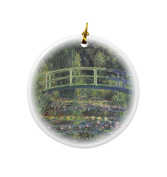 Rikki Knight Claude Monet Art Water Lily Pond #2 Design Round Porcelain Two-Sided Christmas Ornaments