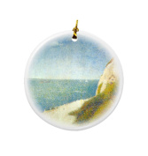 Rikki Knight Georges-Pierre Seurat Art The Beach Design Round Porcelain Two-Sided Christmas Ornaments