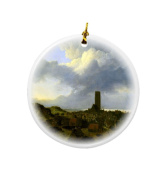 Rikki Knight Jacob Isaakszoon Van Ruisdael Art View of Egmond Design Round Porcelain Two-Sided Christmas Ornaments