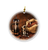 Rikki Knight Sack of Coffee Beans with French Press Design Round Porcelain Two-Sided Christmas Ornaments