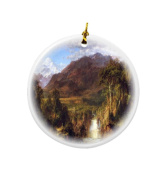 Rikki Knight Frederick Edwin Church Art Heart of The Andes Design Round Porcelain Two-Sided Christmas Ornaments
