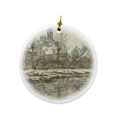Rikki Knight Claude Monet Art Snow in Vetheuil Design Round Porcelain Two-Sided Christmas Ornaments