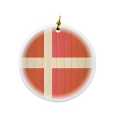 Rikki Knight Denmark Flag on Distressed Wood Design Round Porcelain Two-Sided Christmas Ornaments