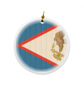 Rikki Knight Albania Flag on Distressed Wood Design Round Porcelain Two-Sided Christmas Ornaments