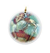 Rikki Knight Edgar Degas Art Dancers in Green Design Round Porcelain Two-Sided Christmas Ornaments