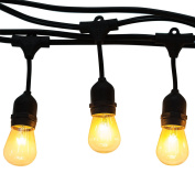 Generalight Advanced Weatherproof Technology Indoor/Outdoor String Lights-Street & Area Commercial Grade Lighting-7.3m-8 S14 Style Incandescent Blubs-Heavy Duty-Black-UL Listed