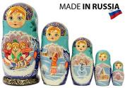 "Russian Nesting Doll - ""Village Scenes"" - Hand Painted in Russia - 5 colour/size variations - Traditional Matryoshka Babushka (6.75``"