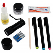 9pc ASR Tactical Deluxe Theft Detection Kit Crook Catcher UV Powder and Light
