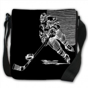 Illustration Of Ice Hockey Player Small Black Canvas Shoulder Bag / Handbag