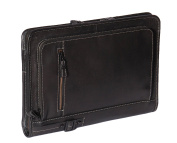 A4 Leather Folder Zip Around Underarm Mens Folio Tablet File Documents Bag Black A942