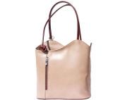 Ladies Italian Leather Handbag,Convertible Rucksack, Backpack In Light Taupe & Brown