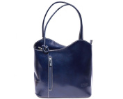 Ladies Italian Leather Handbag,Convertible Rucksack, Backpack In Dark Blue