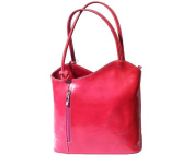 Ladies Italian Leather Handbag,Convertible Rucksack, Backpack In Fuchsia