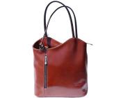 Ladies Italian Leather Handbag,Convertible Rucksack, Backpack In Brown & Dark Brown