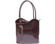 Ladies Italian Leather Handbag,Convertible Rucksack, Backpack In Dark Brown