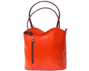 Ladies Italian Leather Handbag,Convertible Rucksack, Backpack In Orange & Brown