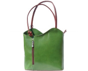 Ladies Italian Leather Handbag,Convertible Rucksack, Backpack In Green & Brown