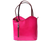 Ladies Italian Leather Handbag,Convertible Rucksack, Backpack In Fuchsia & Brown