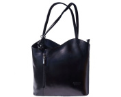 Ladies Italian Leather Handbag,Convertible Rucksack, Backpack In Black